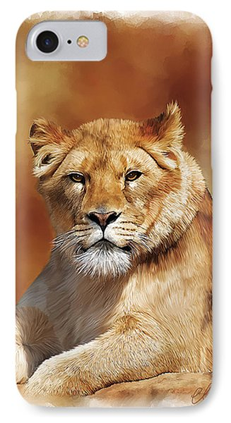 Lioness Portrait Phone Case by Michael Greenaway