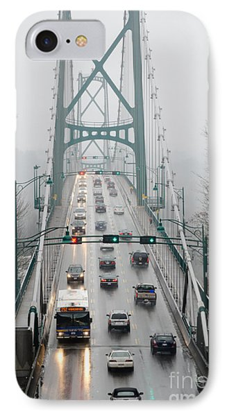 Lions Mist Lions Gate Bridge From Stanley Park Vancouver Bc Phone Case by Andy Smy