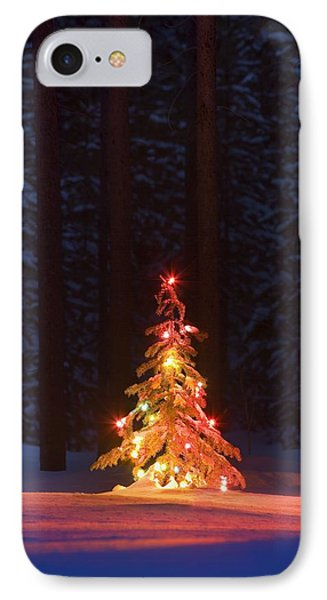 Lit Christmas Tree In A Forest Phone Case by Carson Ganci