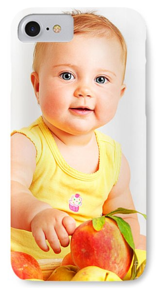Little Baby Choosing Fruits Phone Case by Anna Om