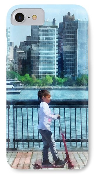 Little Girl On Scooter By Manhattan Skyline Phone Case by Susan Savad