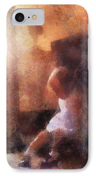 Little Girl Thinking Phone Case by Nora Martinez