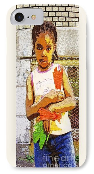 Little Girl With Red Licorice And Maple Leaf Phone Case by Lydia Lockett