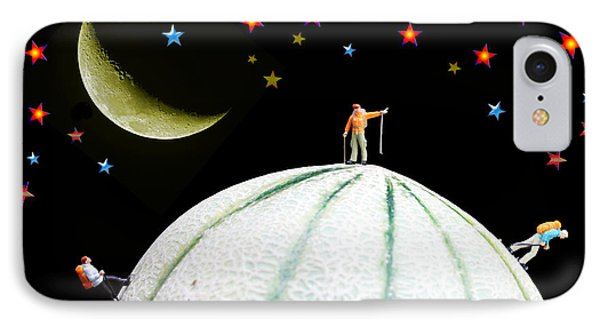 Little People Hiking On Fruits Under Starry Night Phone Case by Paul Ge