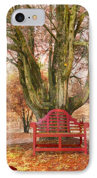 Little Red Bench Phone Case by Debra and Dave Vanderlaan