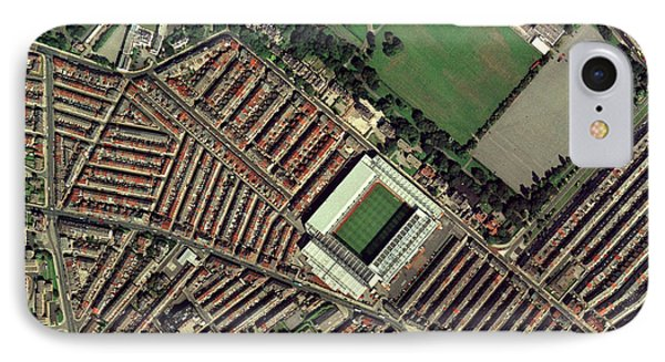 Liverpool's Anfield Stadium, Aerial View Phone Case by Getmapping Plc