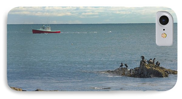 Lobster Boat Working Off Rocky Seawall Beach Acadi National Park Photo IPhone Case