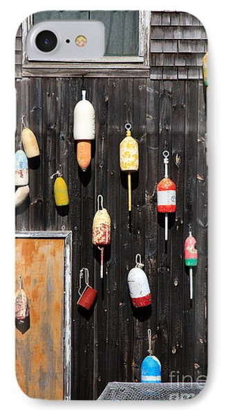 IPhone Case featuring the photograph Lobster Shack With Brightly Colored Buoys by Karen Lee Ensley