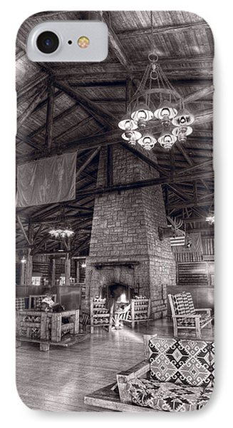 Lodge Starved Rock State Park Illinois Bw IPhone Case by Steve Gadomski