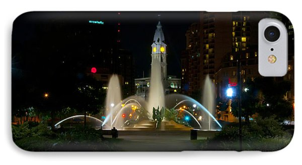 Logan Circle Fountain With City Hall At Night Phone Case by Bill Cannon