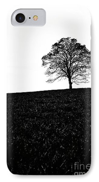 Lone Tree Black And White Silhouette Phone Case by John Farnan