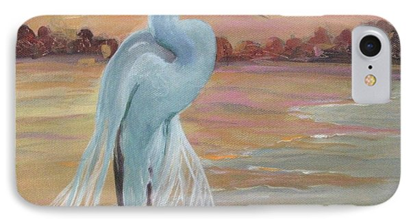 IPhone Case featuring the painting Lonely Egret by Gretchen Allen