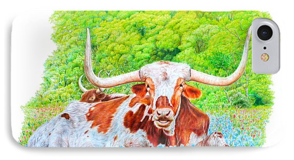Longhorns In Bluebonnets IPhone Case by Mike Ivey