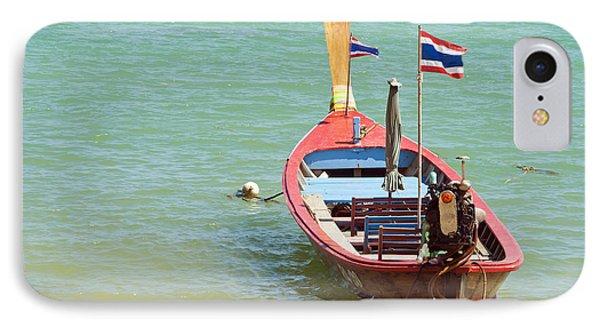 Longtail Boat At Sea Phone Case by Bill Brennan