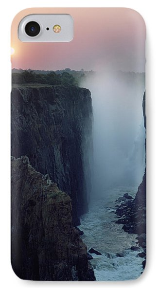 Looking Along Victoria Falls At Dusk Phone Case by Axiom Photographic