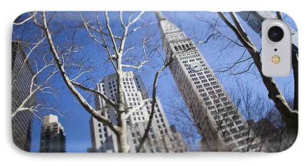 Looking Up Through Trees At Skyscrapers Phone Case by Axiom Photographic