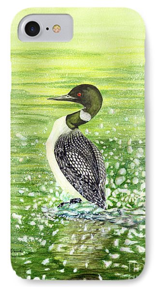 IPhone Case featuring the painting Loon Art Judy Filarecki Watercolor by Judy Filarecki