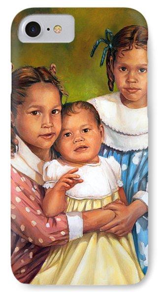 IPhone Case featuring the painting Loretta And Her Sisters by Nancy Tilles