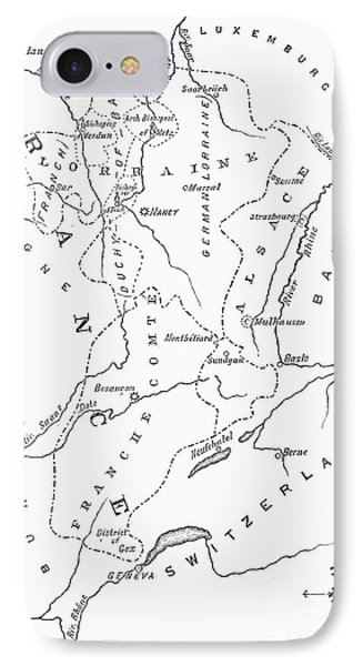 Lorraine And Alsace: Map Phone Case by Granger