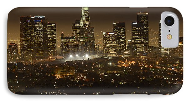 Los Angeles Skyline At Night Phone Case by Bob Christopher