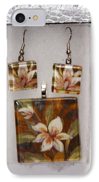 IPhone Case featuring the jewelry Lotus Flower Pendant And Earring Set by Darleen Stry