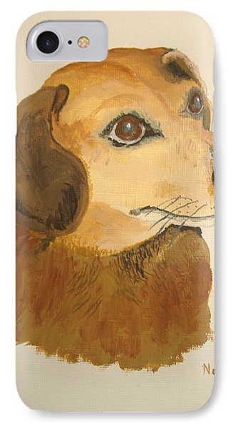 IPhone Case featuring the painting Lovable Dachshund by Norm Starks
