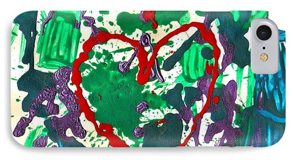 IPhone Case featuring the painting Love Survives A Trashy Time by Sharon Mick