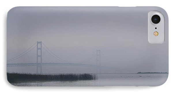 IPhone Case featuring the photograph Mackinac Bridge And Swans by Randy Pollard