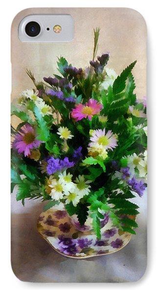 Magenta And White Mum Bouquet Phone Case by Susan Savad