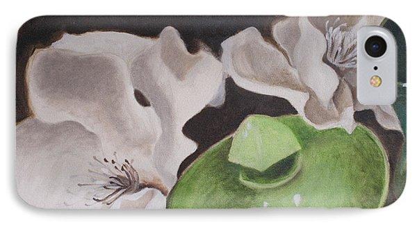 Magnolias With Green Sugar Bowl IPhone Case