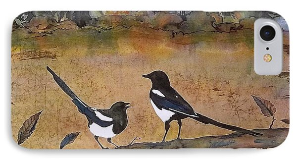 Magpies In The Last Of Autumns Leaves Phone Case by Carolyn Doe