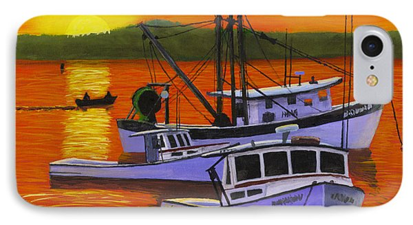 Maine Fishing Boats At Sunset Port Clyde Painting IPhone Case