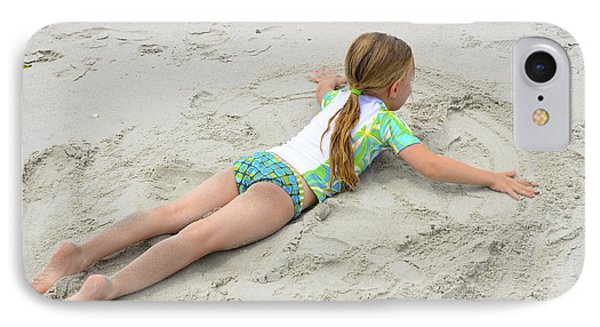 IPhone Case featuring the photograph Making A Sand Angel by Maureen E Ritter