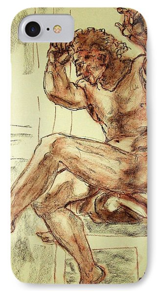 Male Nude Figure Drawing Sketch With Power Dynamics Struggle Angst Fear And Trepidation In Charcoal Phone Case by MendyZ M Zimmerman