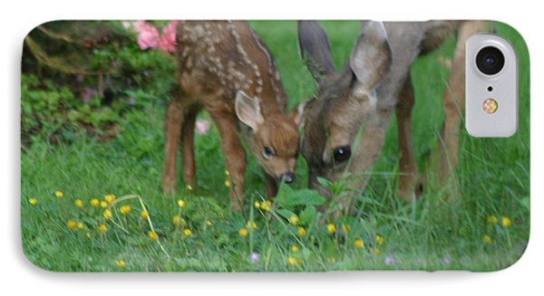 IPhone Case featuring the photograph Mama And Spotted Baby Fawn by Kym Backland