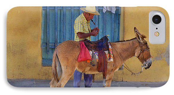 IPhone Case featuring the photograph Man And A Donkey by Lynn Bolt
