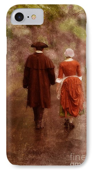 Man And Woman In 18th Century Clothing Walking Phone Case by Jill Battaglia