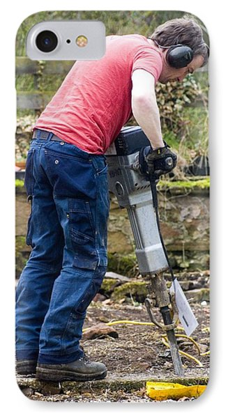 Man Breaking Concrete With A Jack Hammer. IPhone Case by Mark Williamson