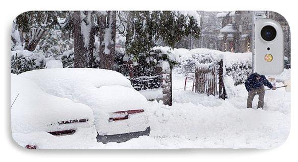 Man Clearing Snow, Braemar, Scotland Phone Case by Duncan Shaw