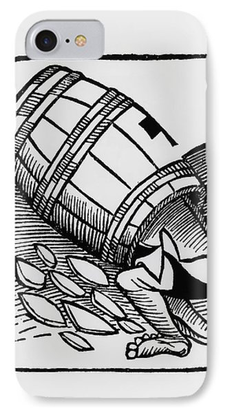 Man Collecting Tartar From A Empty Wine Barrel Phone Case by