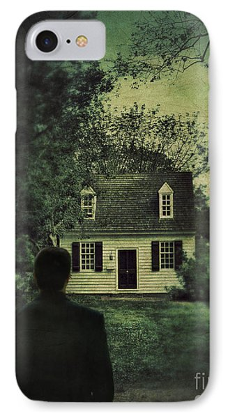 Man In Front Of Cottage Phone Case by Jill Battaglia