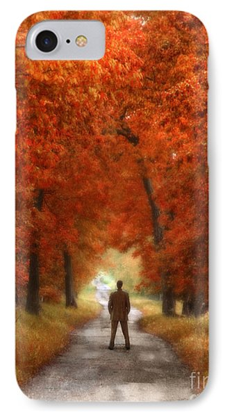 Man In Suit On Rural Road In Autumn Phone Case by Jill Battaglia