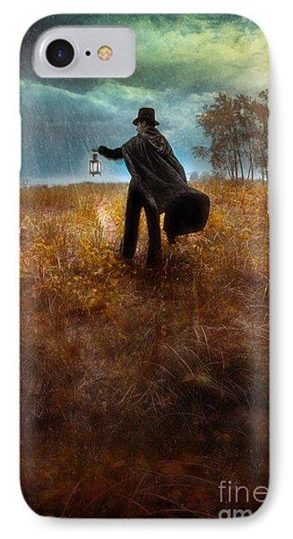 Man In Top Hat And Cape Walking In Rain Phone Case by Jill Battaglia