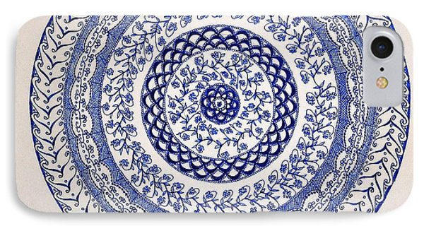 IPhone Case featuring the drawing Mandala by Sylvie Leandre