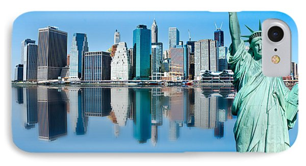 IPhone Case featuring the photograph Manhattan Liberty by Luciano Mortula
