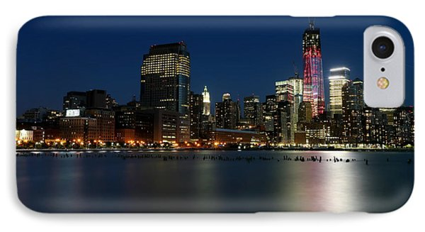 Manhattan Skyline At Night IPhone Case by Larry Marshall