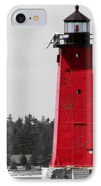 IPhone Case featuring the photograph Manistique East Breakwater Light With Selective Color by Mark J Seefeldt