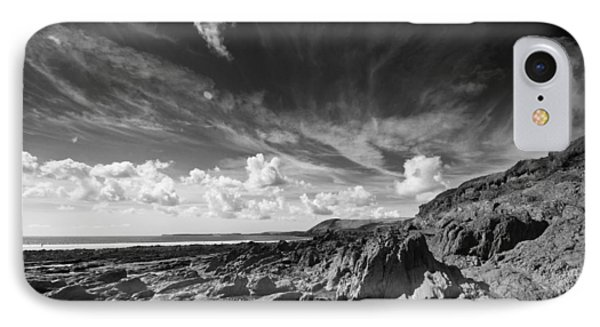 IPhone Case featuring the photograph Manorbier Rocks by Steve Purnell
