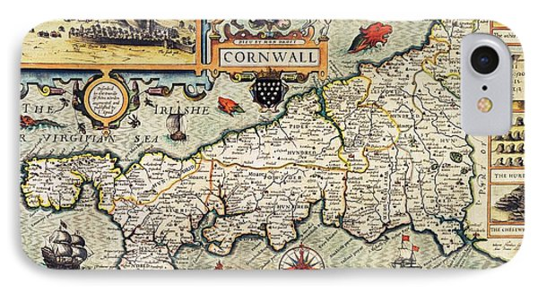 Map Of Cornwall Phone Case by John Speed