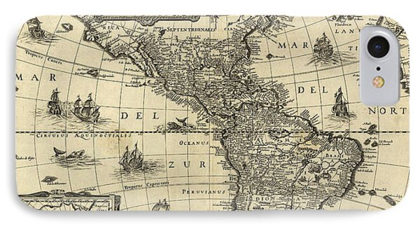 Map Of The Americas 1640 Phone Case by Photo Researchers